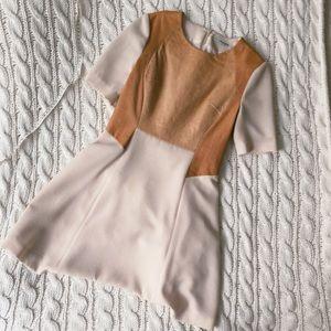 Leather paneled skater dress